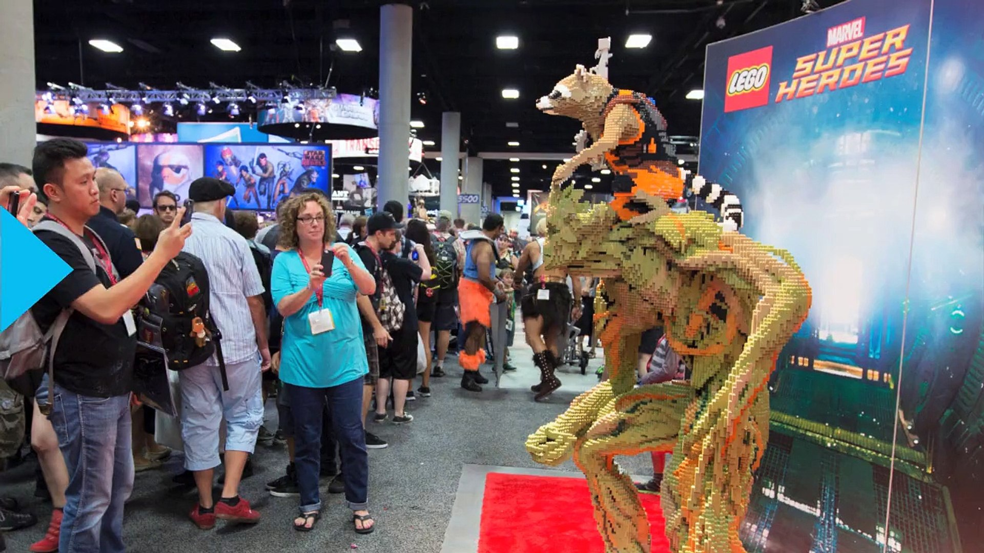 Life-Sized Groot And Rocket Raccoon Built With Legos