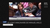 Manuel Valls fait semblant de fumer un joint