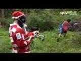 Santa gets shot by paintballs