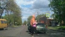 Allumer une cigarette en voiture à coté d'une bouteille de gaz : FAIL!