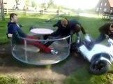 FUN FAIL Motorcycle Merry Go Round dude flies off