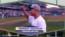 Gennady Golovkin throws 1st Pitch at Dodgers baseball game