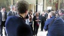 Arrivée de Mme Christiane Taubira pour remettre le Prix des initiatives contre l'homophobie et la transphobie, Mairie 12e, Paris, le 15 mai 2015