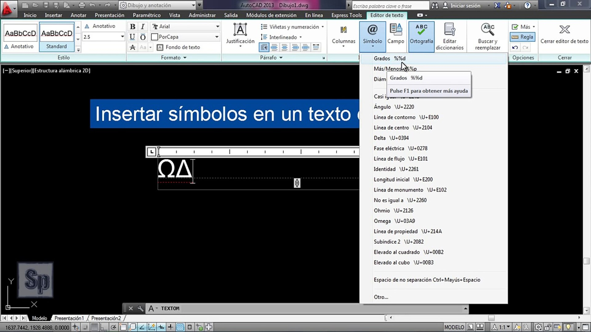Autocad Insertar Símbolos En Texto Introducir Símbolos En Autocad Tutorial En Español Hd Video Dailymotion