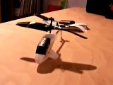 Radio controlled helicopter flying