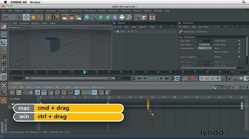 Cinema 4D - Copying keyframes to create an animated pause