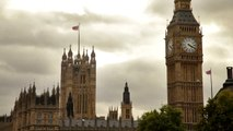 Big Ben and Westminster Abbey in London, England.