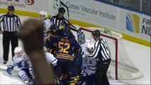 Jordan Leopold goal in wild scrum. Toronto Maples Leafs vs Buffalo Sabres 4/3/12 NHL Hockey