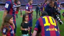 Leo & Thiago Messi make a picture with La Liga trophy 2015