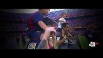 Leo Messi celebrando con su hijo Thiago el titulo de Campeon de Liga 2014 2015