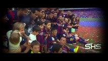 Leo Messi celebrating with his son Thiago - Barcelona Champions of La Liga 2014 - 2015