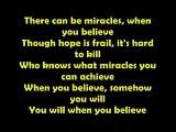 When you Believe Lyrics On Screen by Mariah Carey ft Whitney Houston