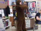greg dancing in a bear suit