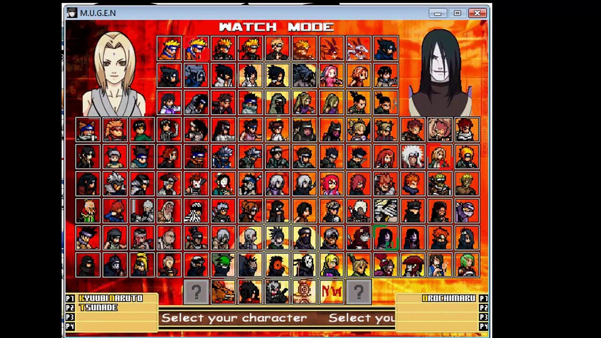 Naruto Mugen Gameplay: Kyuubi Naruto & Tsunade VS Orochimaru & Kabuto