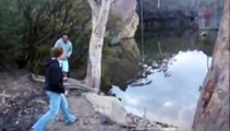 Blue Mountains, Australia - Rope Swing into Lake