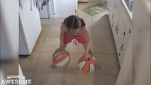 Fille de 8 ans est incroyable au basket dribbles! / 8 year old girll is incredible at dribbling basketballs!