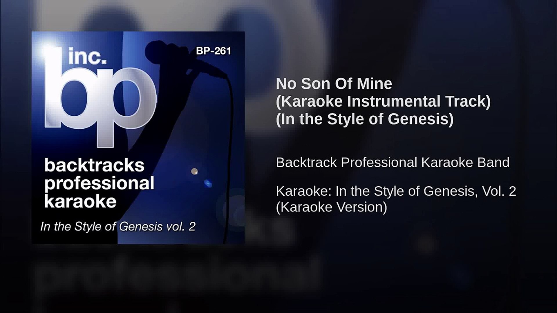 No Son Of Mine (Karaoke Instrumental Track) (In the Style of Genesis)