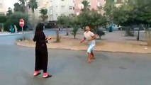 lady street foot baller