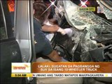 SUV collides with 10 wheeler truck, driver hurt
