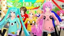 MMD Luka, Miku, Rin, Len, KAITO, MEIKO, GUMI, Haku, Teto & Neru   One Two Three Morning Musume