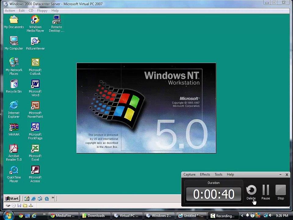 Windows 2000 Datacenter Server In Virtual PC 2007!