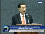 Enrile blames critics for Jack's defeat