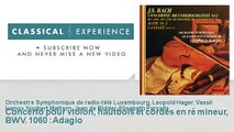 Jean Sébastien Bach : Concerto pour violon, hautbois et cordes en ré mineur, BWV. 1060 : Adagio