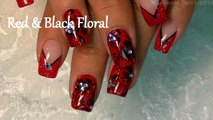 2 Nail Art Tutorials | DIY Flower Nails | Easy Red & Black Holiday Nail Design