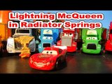 Disney Pixar cars with Lightning McQueen, re enactment scene of Lightning helping Radiator Springs