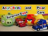 Angry Birds GIANT Surprise Egg with 2 Kinder Eggs from Disney Pixar Cars and Lig