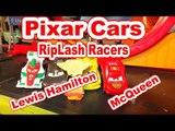 Pixar Cars Riplash Racer Re-match with Lewis Hamilton vs Francesco Bernoulli and Funny Car Mater