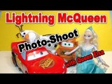 Pixar Cars Lightning McQueen and Disney Queen Elsa in a Photo Shoot with Mater and Olaf  lol