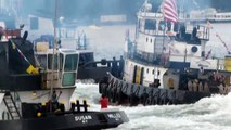 Tugboats collide in the 20th annual Great North River Tugboat Race