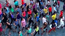indian girls and boys dancing in shoping mall