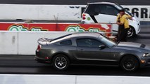 WILD WHEELSTANDING BLOWN SMART CAR GIVES SHELBY MUSTANG A SCARE!