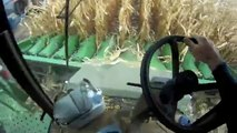 John Deere 9770 Combine with 12 Row Corn Head in cab operators view of harvesting Corn Fall 2011!!
