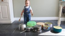 Toddler Drummer - A 1 yr old drums on kitchen pans - stop motion