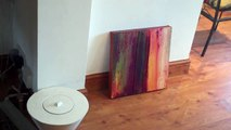Ambient red  textured abstract contemporary painting red orange tones on canvas Hardeep S Ghatora