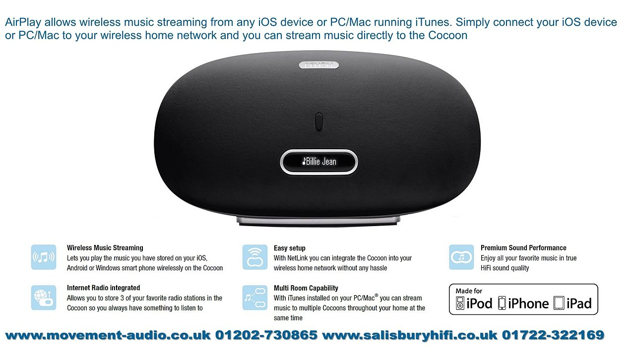 Denon DSD-500 Cocoon Home Speaker iPod Dock available from Movement Audio  Salisbury