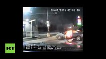 USA- Police dash-cam captures attempted self-immolation at gas station - YouTube