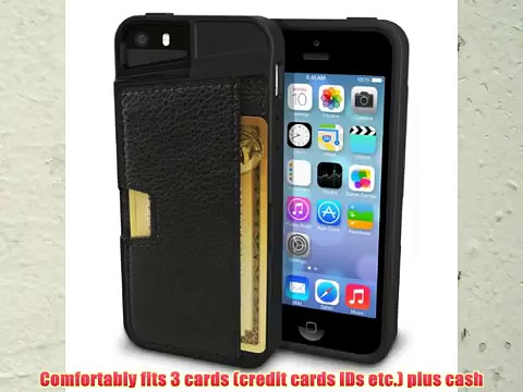 iPhone 5s Wallet Case – Q Card Case for iPhone 5/5s by CM4 – Black Onyx – [Ultra Slim Protective