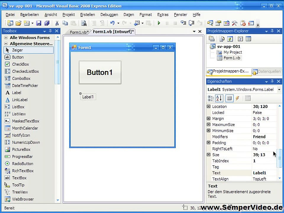 Label & Textbox (Visual Basic 2008 1-3)