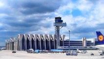 Takeoff from Frankfurt Airport. Airbus A320-200 Lufthansa. Flight to Munich