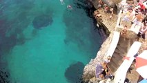 Rasta swan dives 75 feet off cliff
