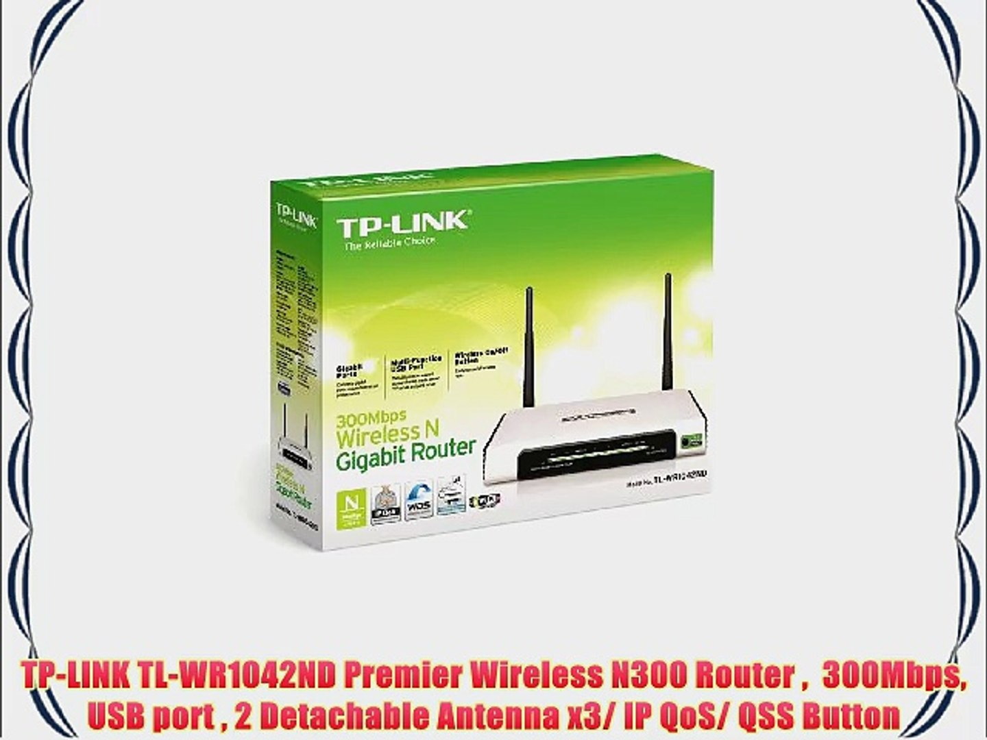 TP-LINK TL-WR1042ND Premier Wireless N300 Router 300Mbps USB port 2  Detachable Antenna x3/