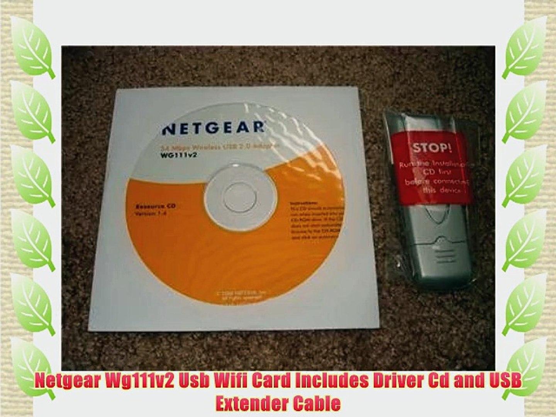 Netgear wg111v2 usb wifi card includes driver cd and usb extender.
