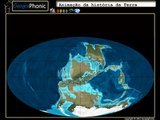 Animação da história da Terra. movediças placas e história das placas tectônicas