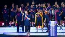 The Barça first team during the treble celebrations at Camp Nou