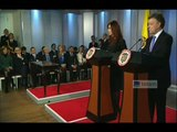 Cristina Fernández de Kirchner y Juan Manuel Santos en declaración conjunta