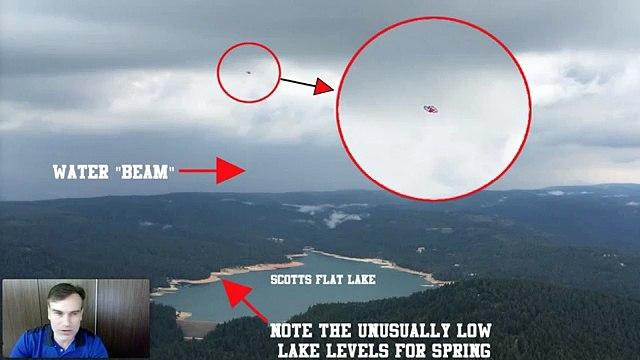 UFO .puise l eau d un lac?. Californie. 06.2015